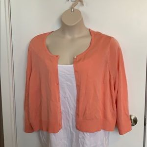 MICHEL STUDIO | 4X | Coral Cropped Button Up Cardi